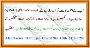 Punjab Board Matric 9th Class Science/Arts Model and Past Papers Online For Exams Pattern