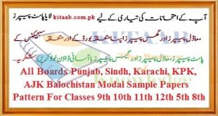 Model Papers and Past Papers Sample Papers Download Online Preview For 5th 8th 9th 10th 11th 12th BA BSc MA MSc Bcom Mcom