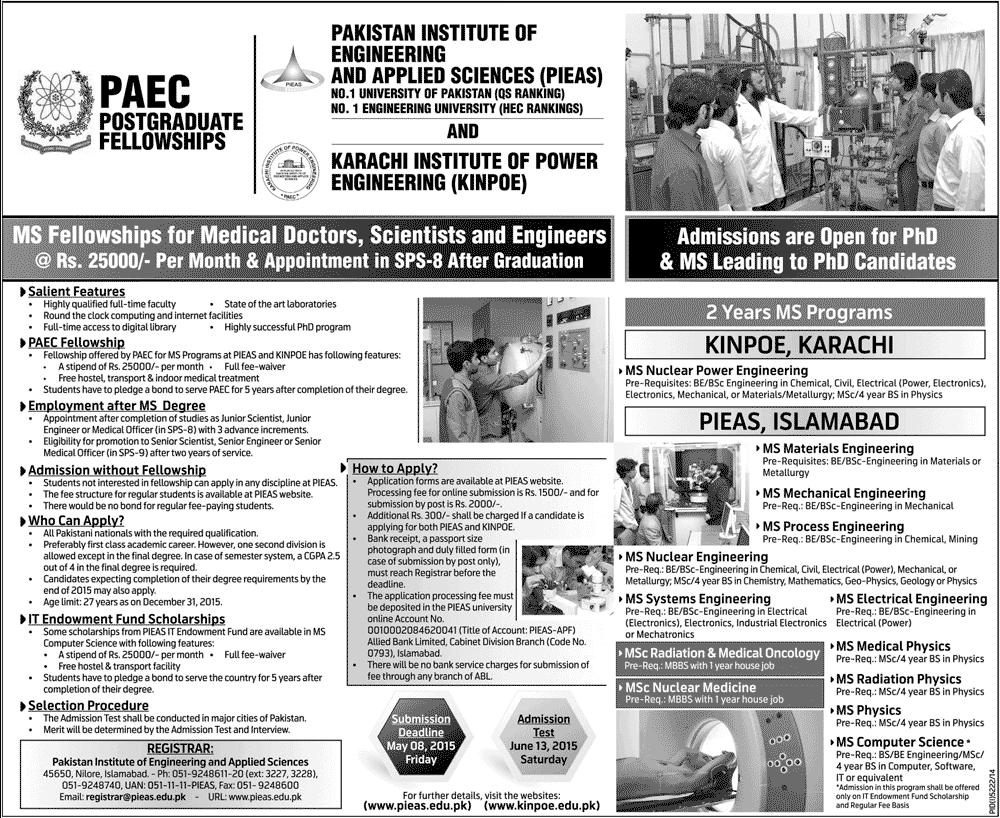 Pieas University Paec Kinpoe Karachi Admission 2018 Form