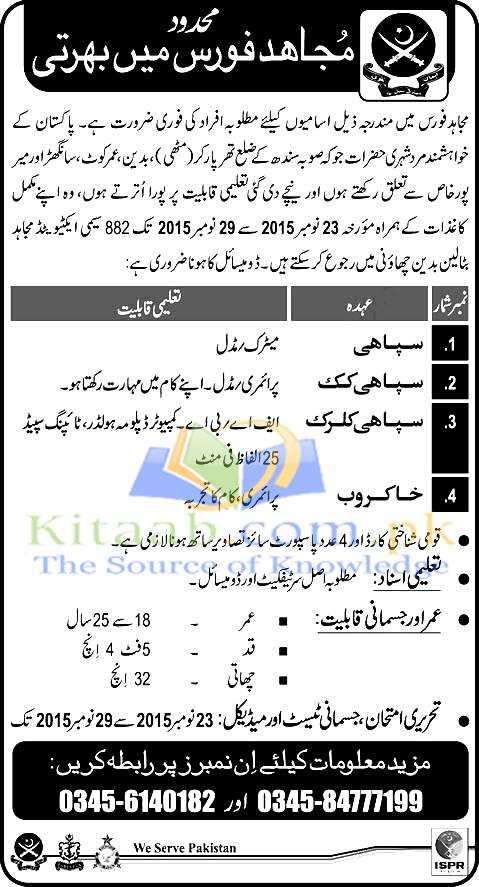 Mujahid-Force-Jobs-November-2015-Sindh-Join-as-Sipahi Online Form For Army Clerk on statement charges, oer support, 2a usar,