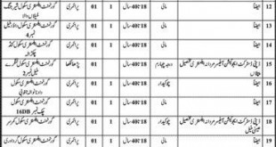 Education Department Mianwali Jobs December 2021-2021 for Watchman Security Guard Application Form Dates