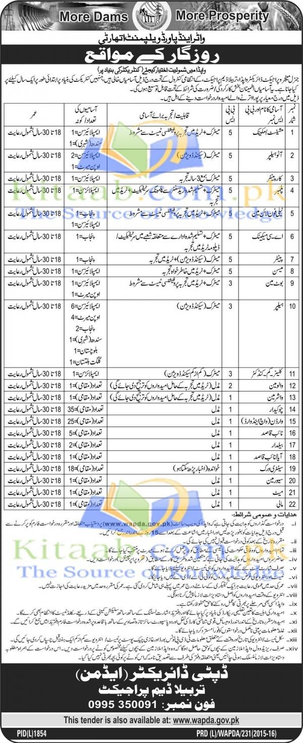 Water and Power Development Authority Wapda Jobs December 2021 Application Form Dates Eligibility Criteria