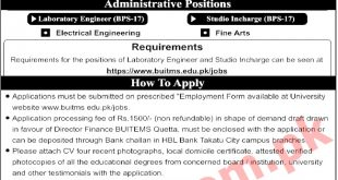 BUITEMS University Quetta Jobs December 2021 Teaching Faculty Application Form Dates and Requirements