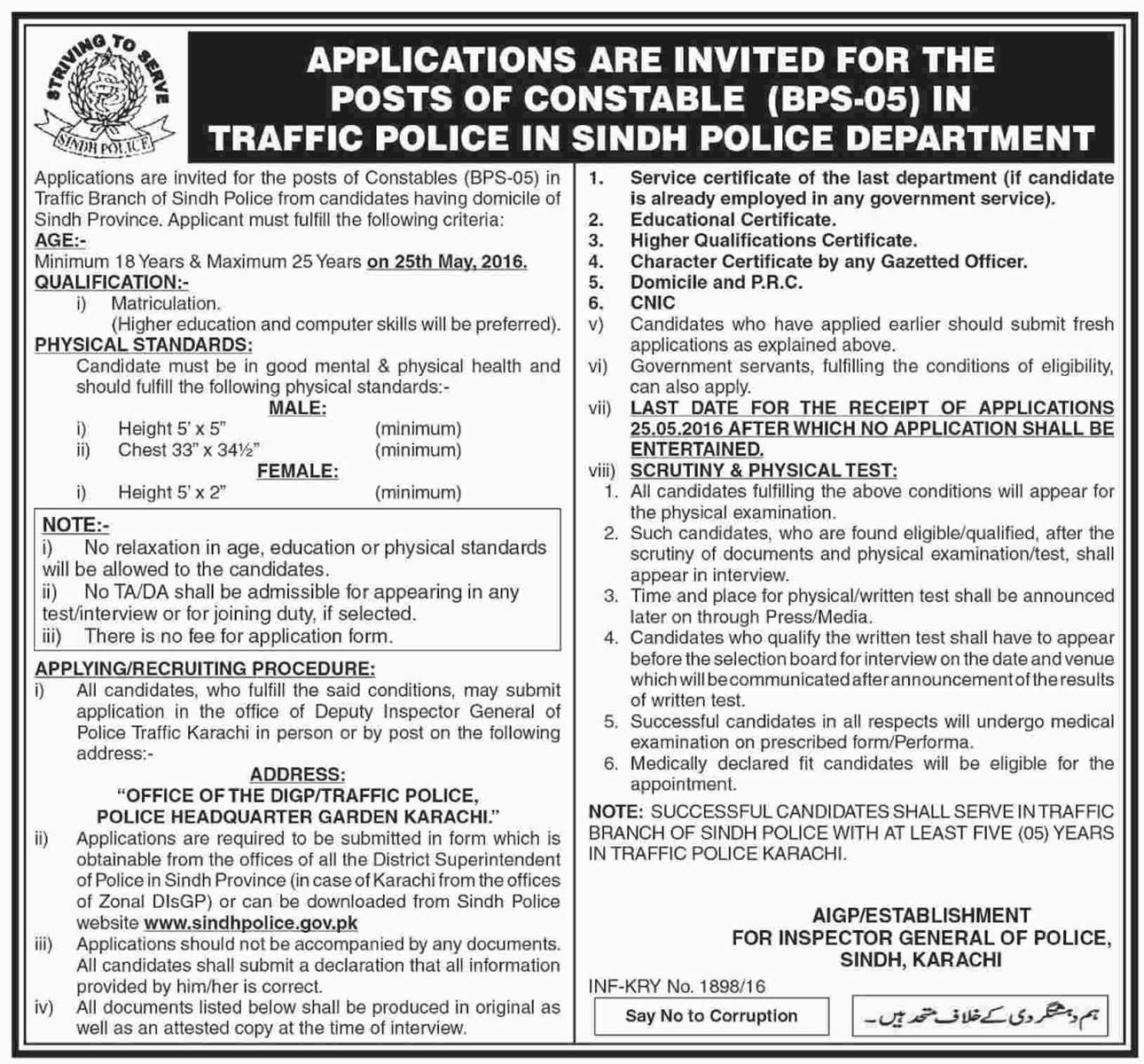 Sindh-Traffic-Police-Jobs-2016-321432 Job Application Form For Nurses on
