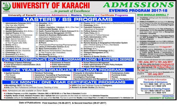 Karachi University MA MSc Admission Notice 2018 Registration Schedule Eligibility Criteria Last Date