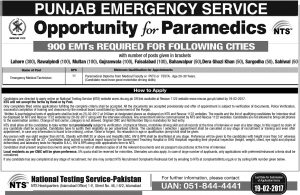 Sargodha Sahiwal Rescue 1122 Emergency Services Punjab Jobs 2021 NTS Test Selected Candidates Roll Number Slips