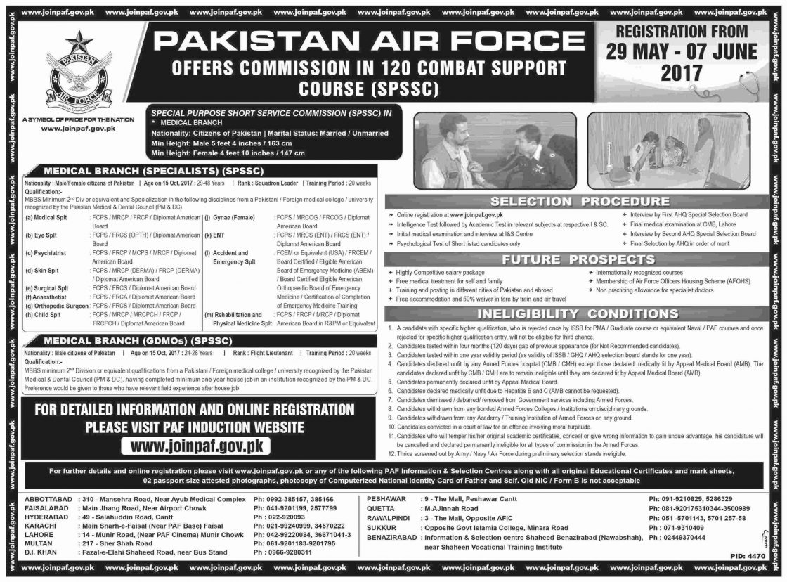 Paf Join Pakistan Air Force As A Offers Commission In 120 Combat Support Course Spssc Jobs 2021 Eligibility Criteria Registration Online