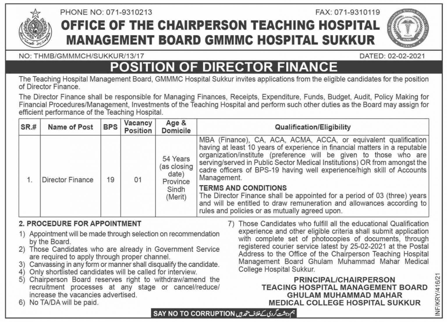 Ghulam Muhammad Mahar Medical College Hospital Sukkur Jobs 2021 Application Form
