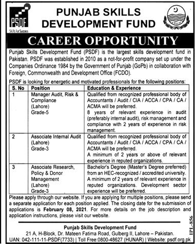 Punjab Skills Development Project Lahore Jobs 2021 Application Forms