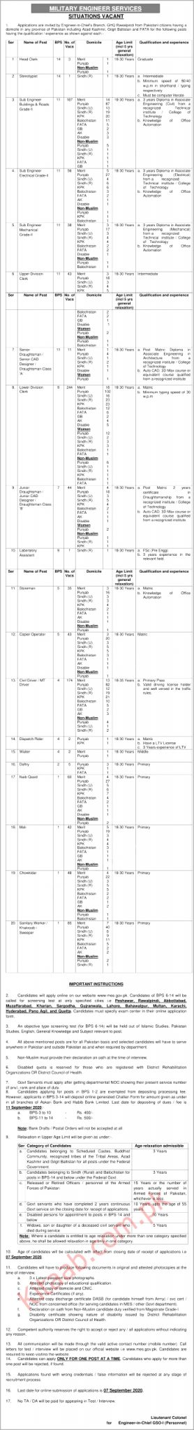 Military Engineering Services MES Jobs 2021 Download Application Form