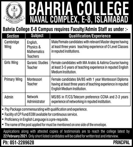 Bahria College Naval Complex Islamabad Jobs 2021 Application Form Last Date
