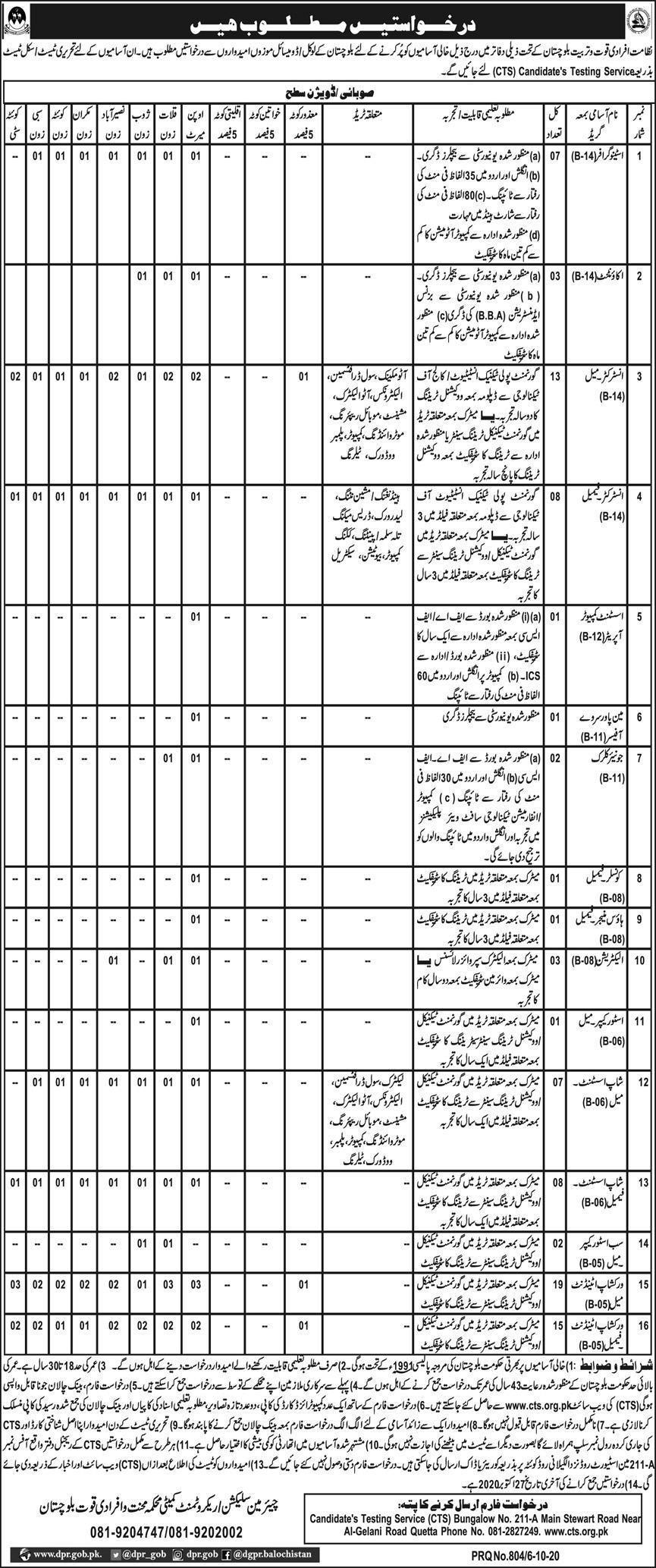 Directorate Of Manpower And Training Balochistan Jobs 2021