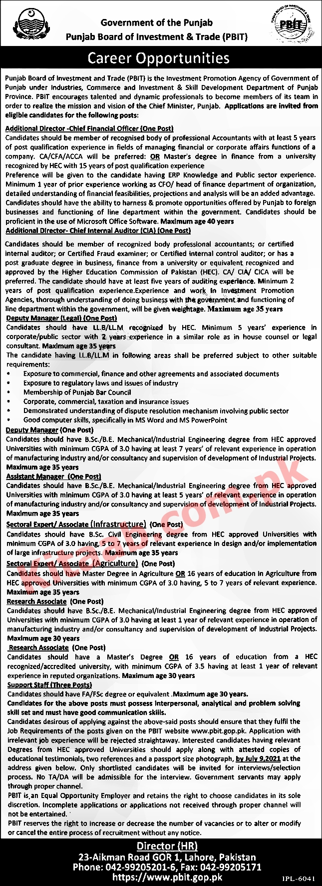 Punjab Board Of Investment And Trade PBIT Jobs 2021 Application Form Last Date