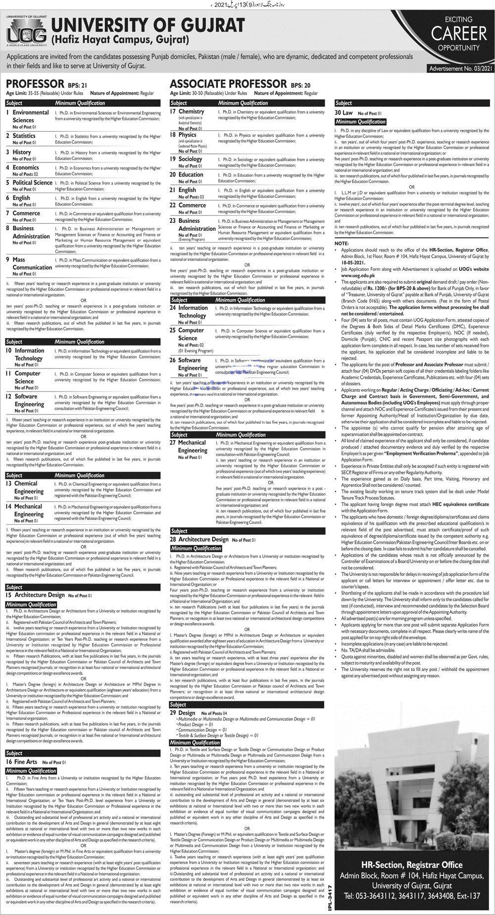 University Of Gujrat UOG Hafiz Hayat Campus Jobs 2021