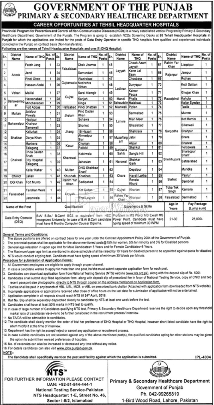 PSHD NTS Prevention Control of Non Communicable Diseases Screening Test 2021 Download Application Form