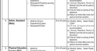 Pakistan International School Doha Qatar Jobs NTS Screening Test 2021 Download Application Form