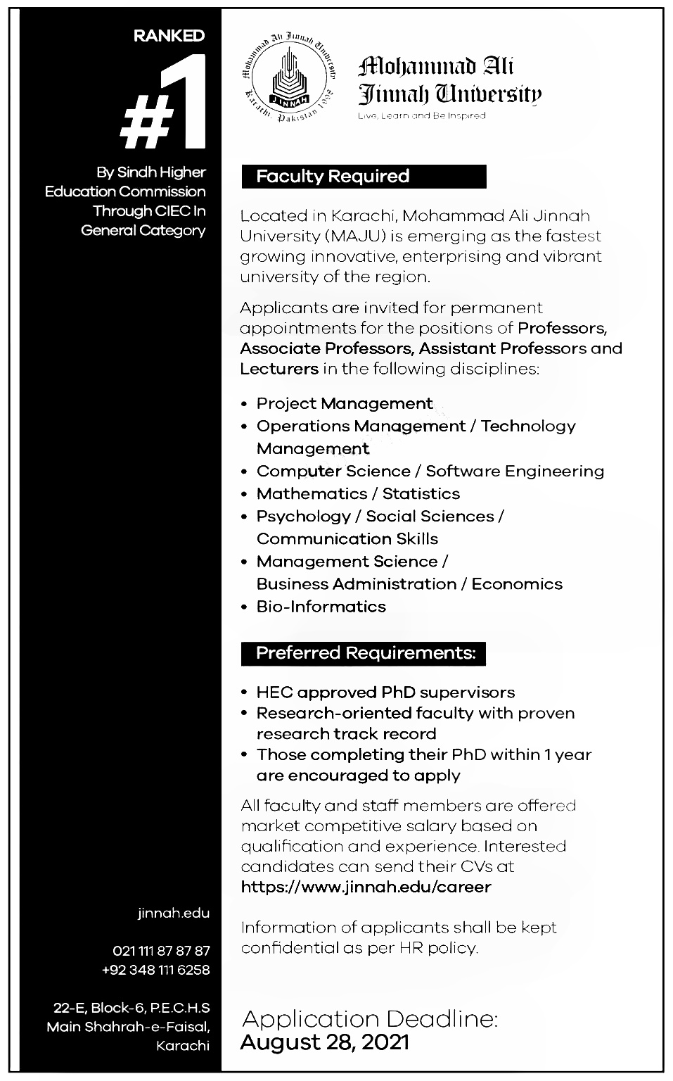 Karachi Sindh Mohammad Ali Jinnah University Jobs 2021 Applying Procedure