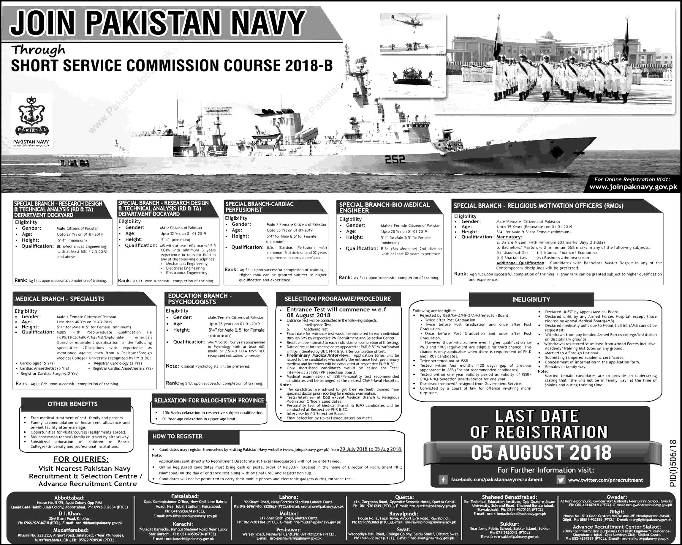 Join Pakistan Navy PN Short Service Course SSC 2018