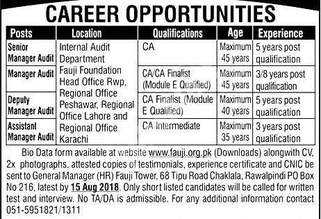 Fauji Foundation Pakistan Jobs 2021 How To Apply