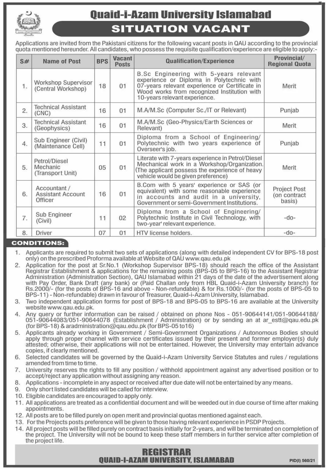 Islamabad Quaid-e-Azam University Jobs 2021 Last Date for Applying