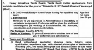 Heavy Industries Taxila HIT Jobs 2021 Application Form Download Eligibility Criteria