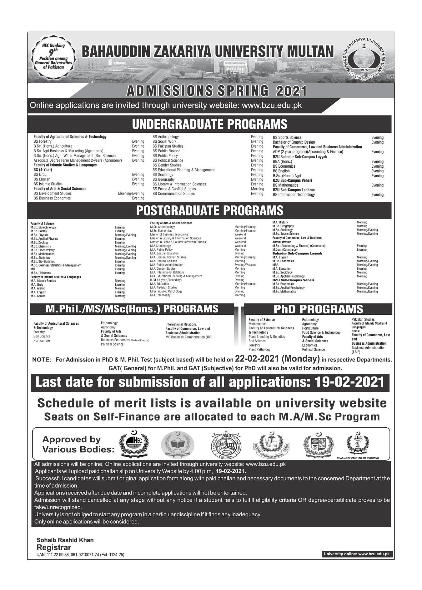 Bahauddin Zakariya University Admission 2021 Registration Schedule Eligibility Criteria