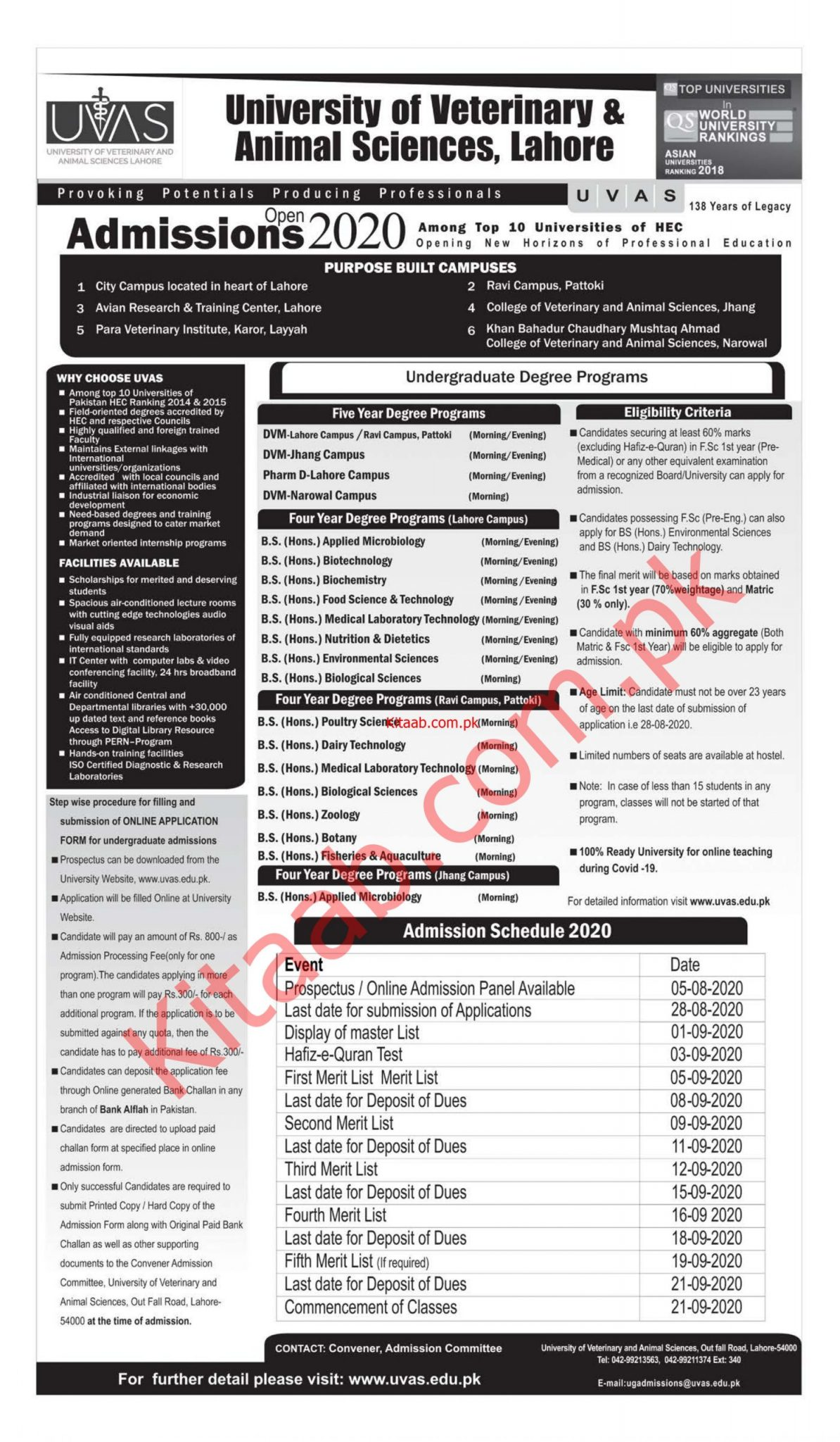 The University of Veterinary And Animal Sciences Jhang Campus Admission 2021 Online Application