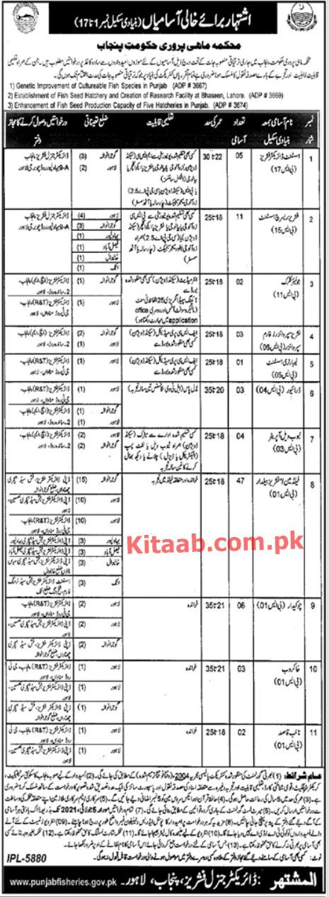 Punjab Fisheries Department Jobs 2021 Application Form Eligibility Criteria Last Date