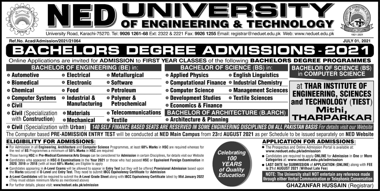 NED University of Engineering and Technology Karachi Admission 2021 in Electrical Mechanical Civil Application Form Procedure to Apply Engineering College in Sindh
