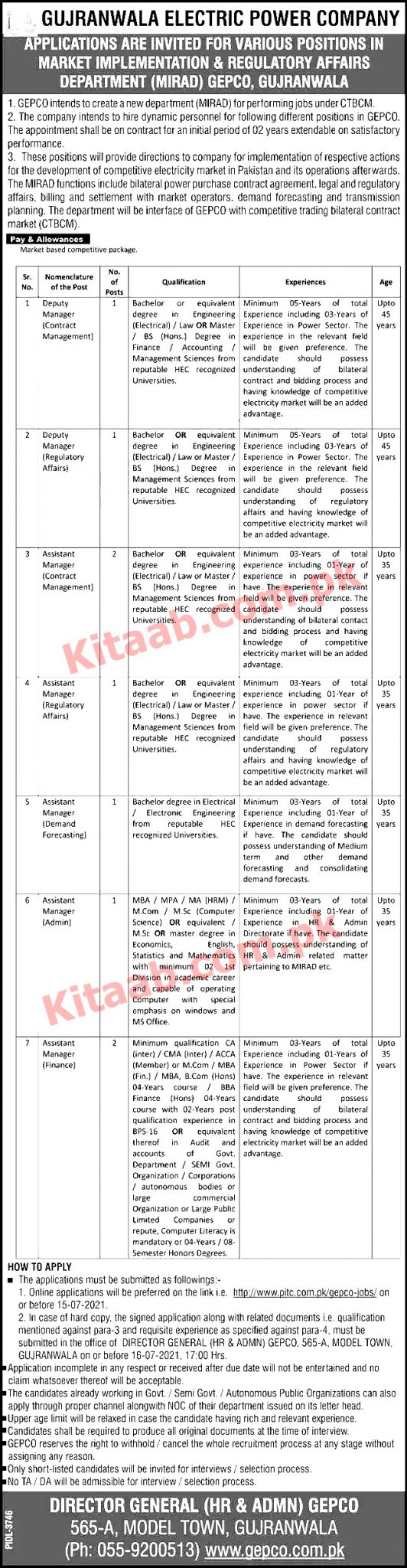 Gujranwala Electric Power Company GEPCO Jobs 2021 Interview Schedule