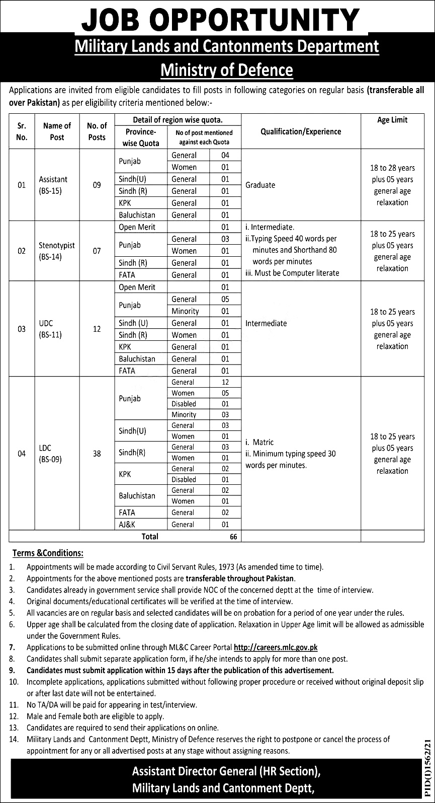 Military Land and Cantonment Department Lahore Jobs 2021 Ministry of Defence Written Test/Interview Application Eligibility Last Date