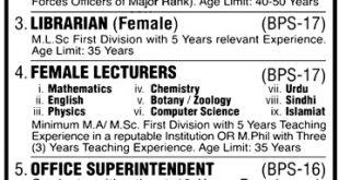Bakhtawar Cadet College Shaheed Benazirabad Jobs 2021 Application Form