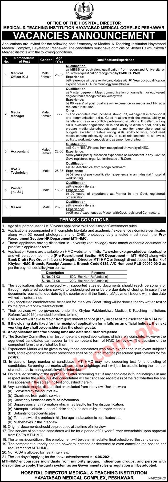 Hayatabad Medical Complex Peshawar Jobs 2021 MTI Application Form Dates and Schedule Interviews Test