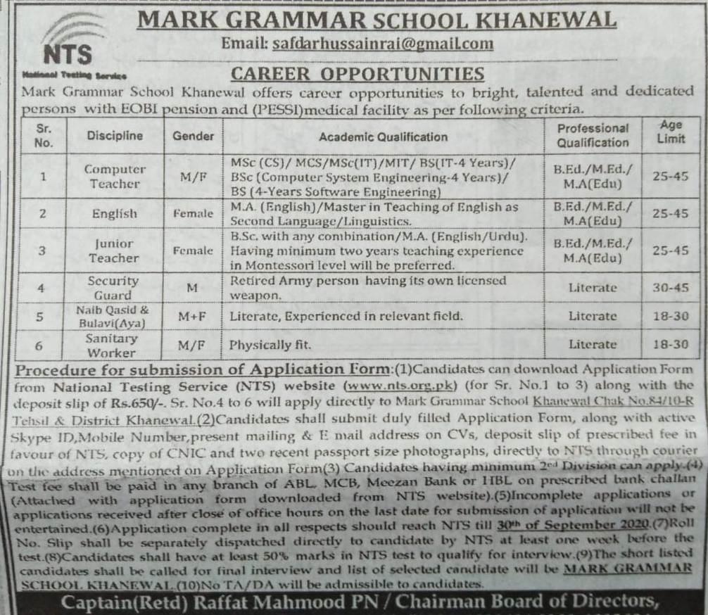 Mark Grammar School Khanewal NTS Jobs 2021 Online Application Form Eligibility Criteria