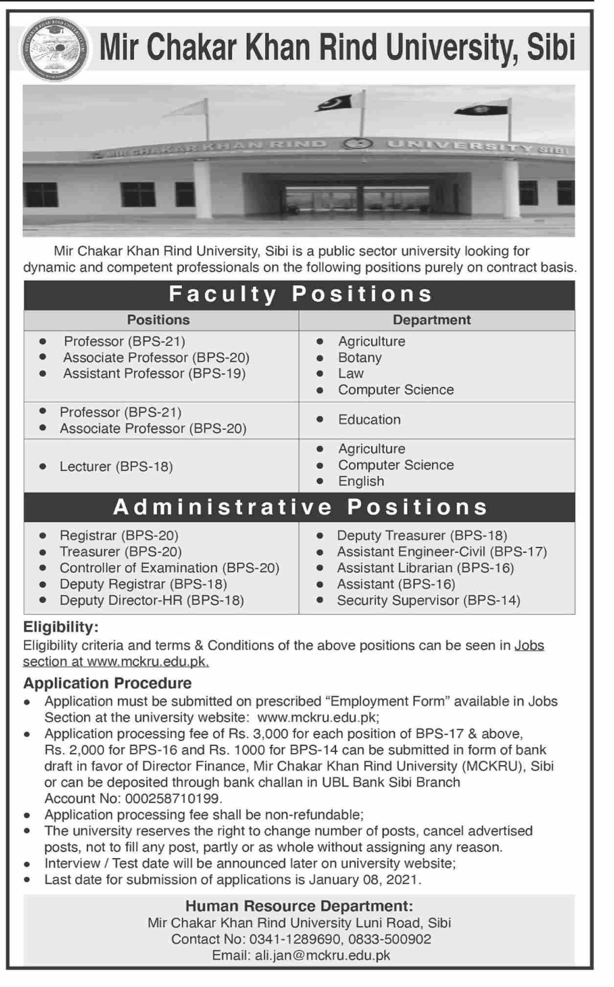 Mir Chakar Khan Rind University of Technology Jobs 2021 Application Form Eligibility Criteria