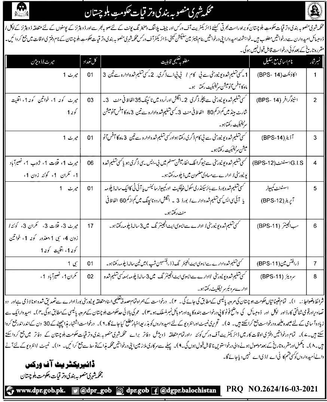 Planning and Development Department Balochistan Jobs 2021 Last Date Test Schedule