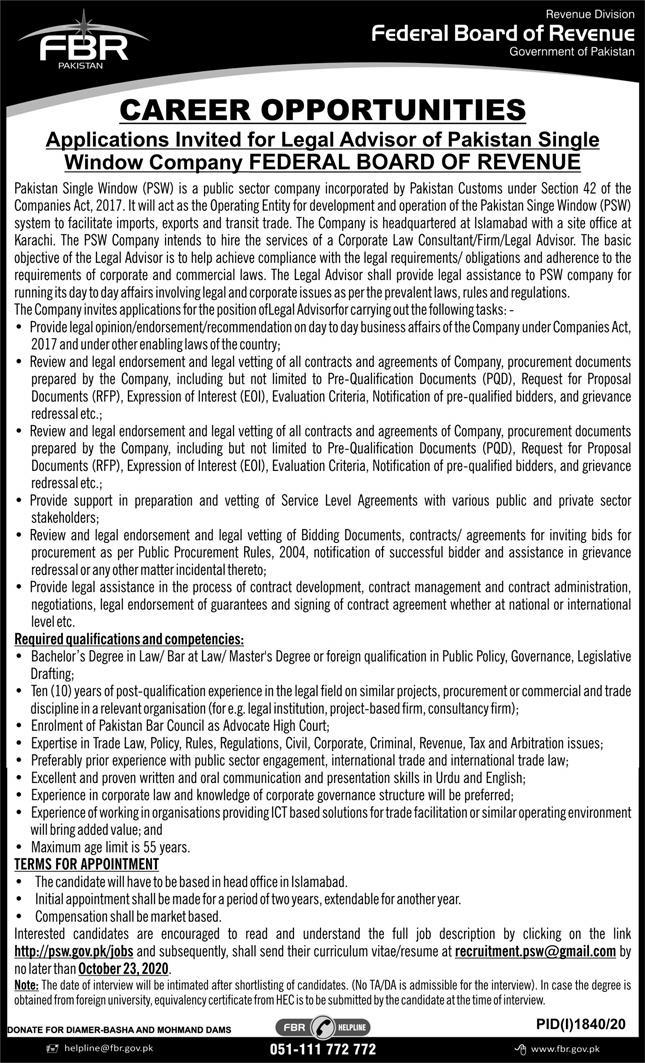 Federal Board of Revenue Govt of Pakistan Legal Advisor Jobs 2021 Application Form Eligibility Criteria