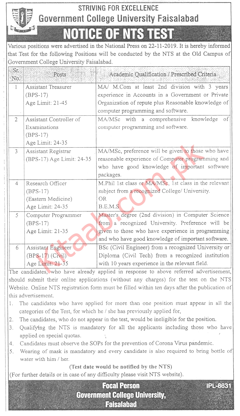 Government College University Faisalabad NTS Jobs 2021 Online Application Form Eligibility Criteria