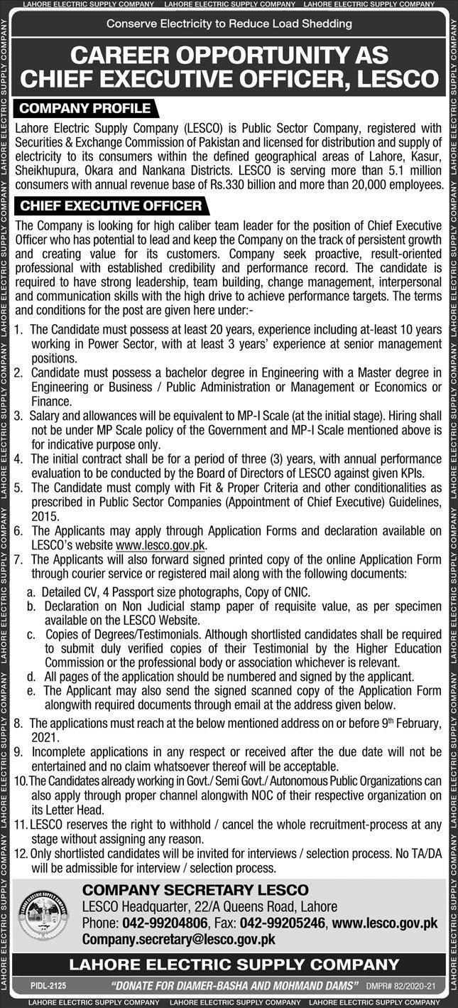 Lahore Electric Supply Company LESCO Jobs 2021 Application Form Eligibility Criteria