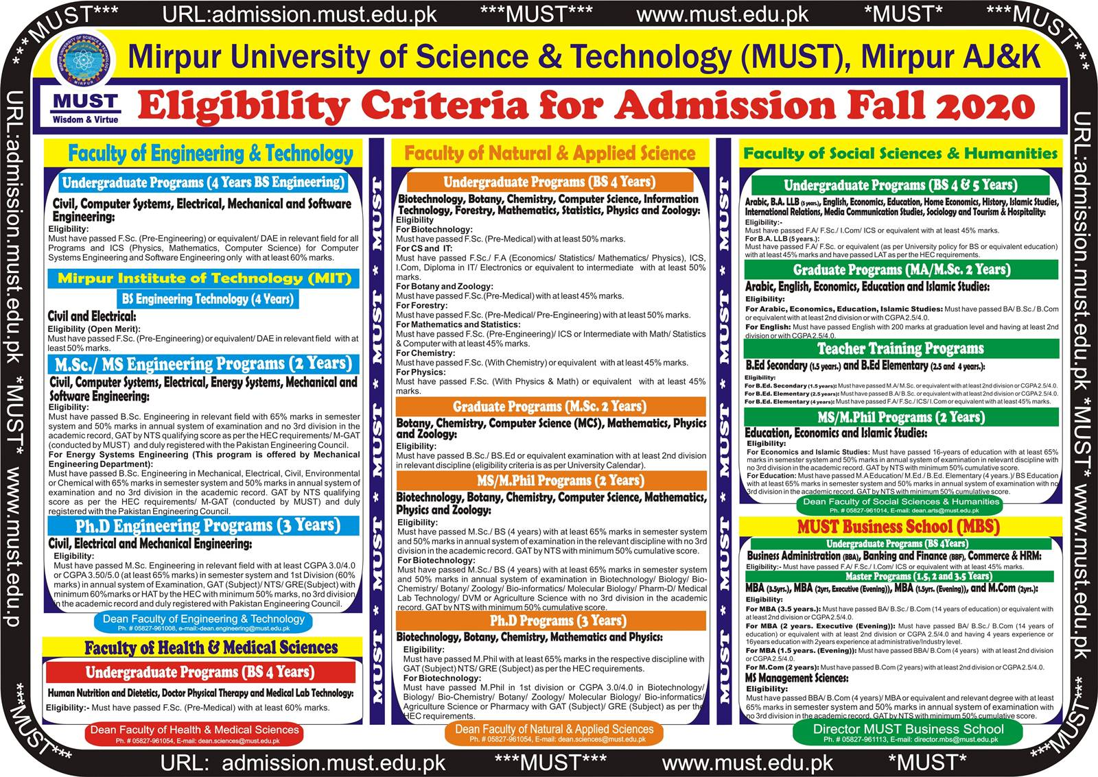Must University Admission 2021 Application Form Last Date Eligibility Criteria Mirpur University of Science & Technology