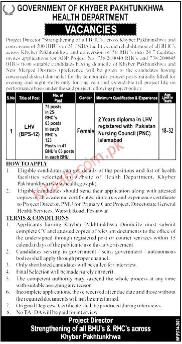 Health Department KPK Lady Health Visitors LHV Jobs 2021 Application Form Last Date