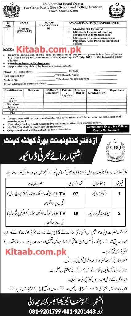 Quetta Cantonment Board Public Schools and Colleges Jobs 2021 Procedure to Apply