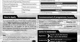 NUST Rawalpindi Entry Test 2021 Dates & Schedule Merit List National University of Science & Technology Engineering, Information Technology