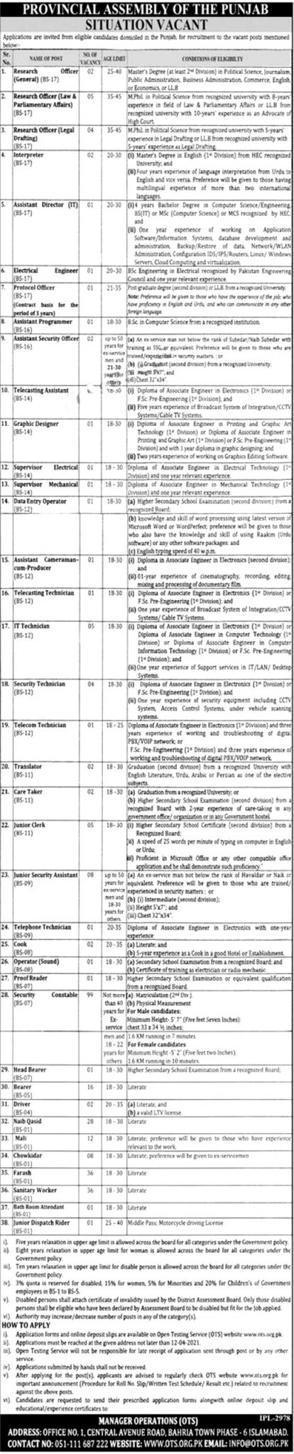 Punjab Provincial Assembly Jobs 2021 Online Application Form Eligibility Criteria