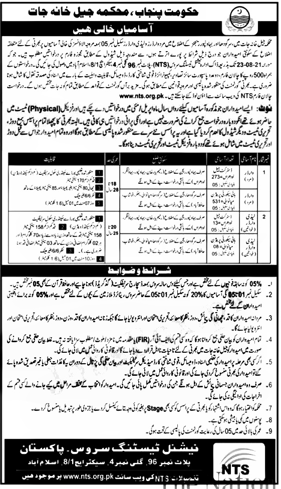 Punjab Jail Police Warder Jobs 2021 Application Form Eligibility Criteria Dates and List