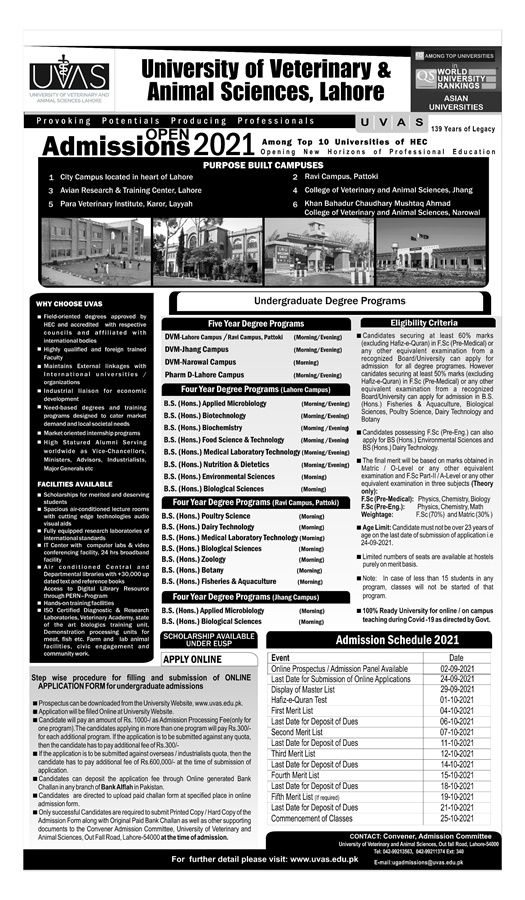 UVAS Lahore University of Veterinary and Animal Sciences Entry Test Answer Key Result 2021 Merit List Calculator