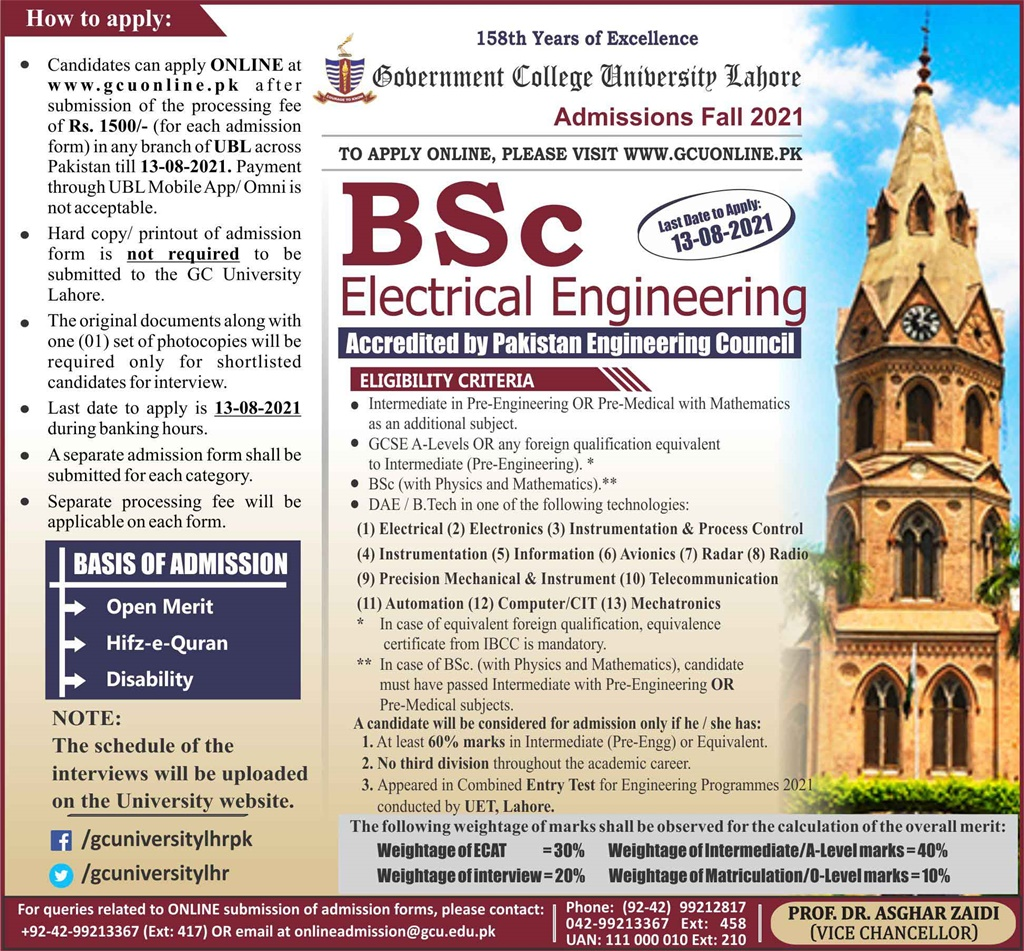 GC University Lahore Electrical Mechanical Civil Engineering ECAT Entry Test 2021 Answer Key Result Merit Lists