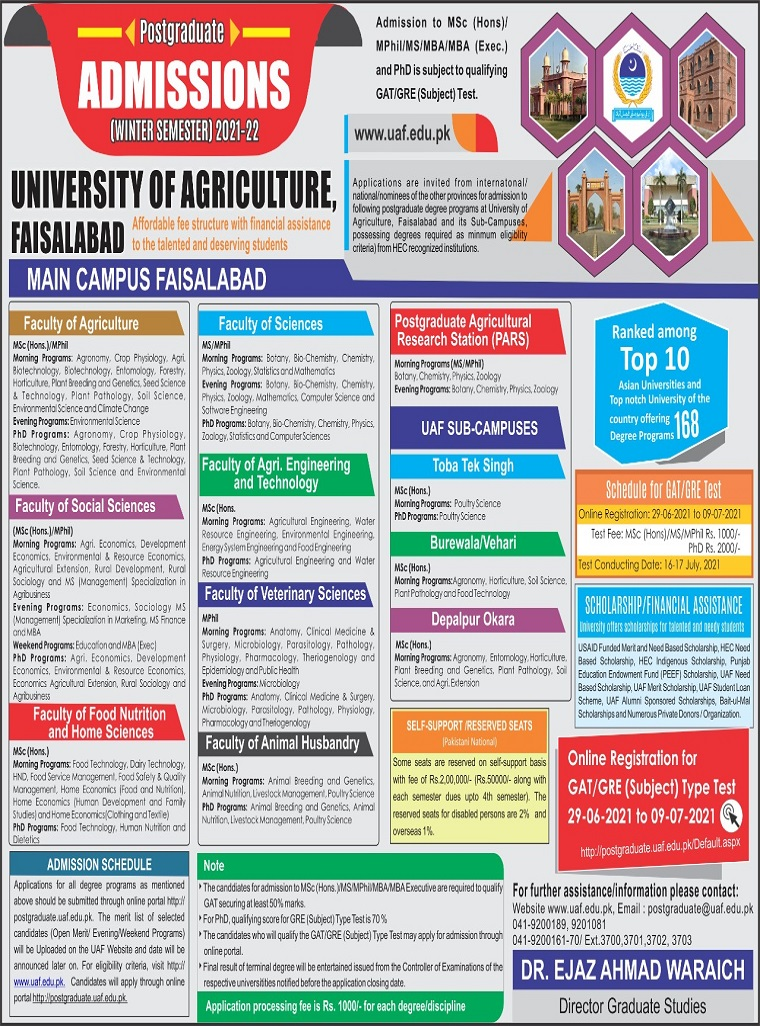 University of Agriculture Faisalabad UAF Admissions 2021 Schedule and Dates Form Download Undergraduate and Graduate Programs
