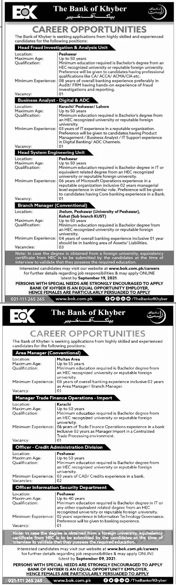 Bank of Khyber Jobs 2021 System Administrators & Others Apply Online Last Date