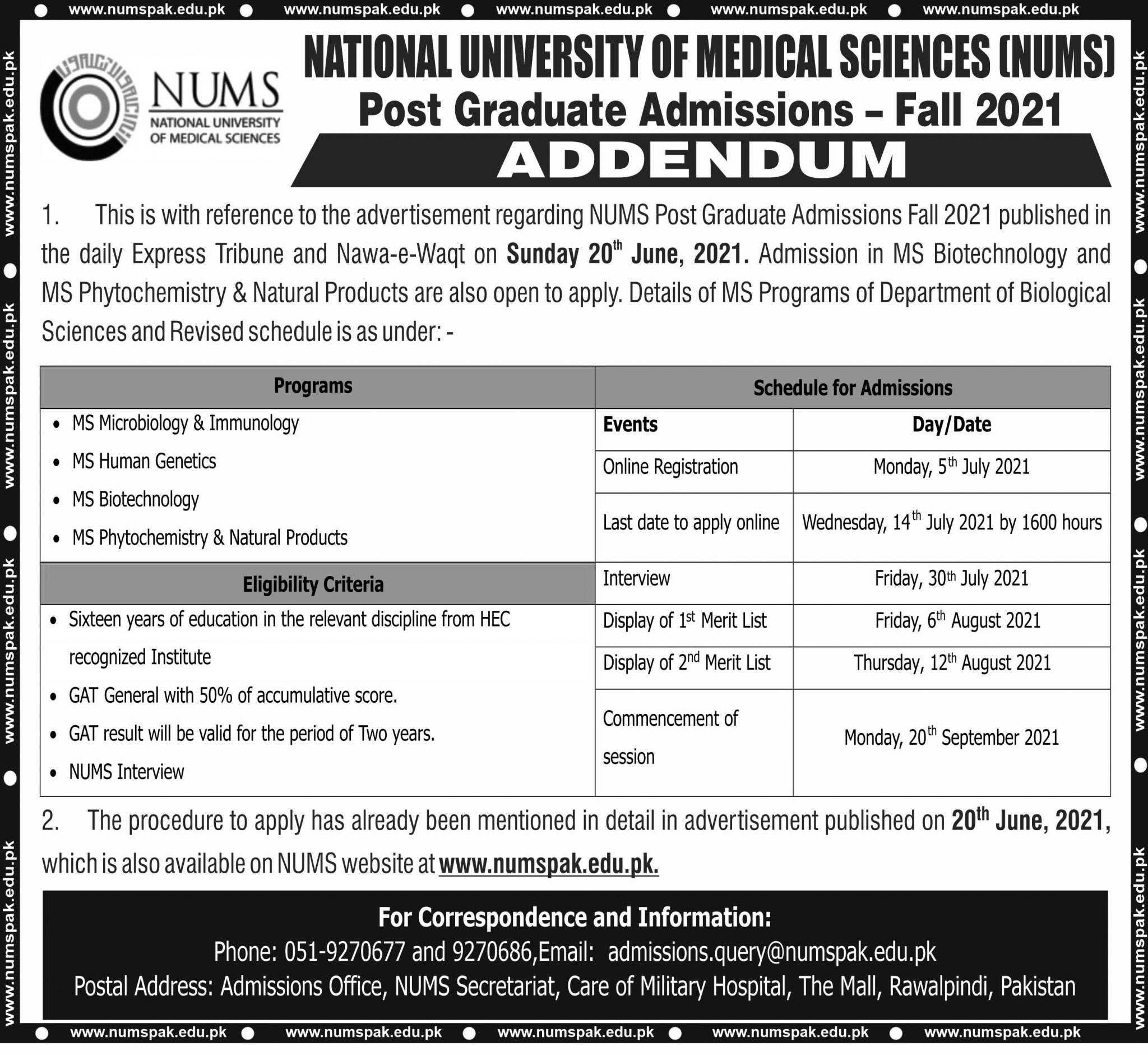 National University of Science Islamabad Admission 2021 Eligibility Criteria Form Download